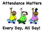 Three kids sitting down with one hand extended up with the words attendance matters, every day, all day
