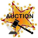 Clip art of a large yellow star surrounded by smaller yellow stars with a black gavel in front and the words Auction