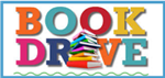 The words book drive in multi colors with a stack of books of various colors and sizes in front