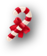 Red and white striped candy cane with a red bow around it