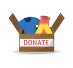 Clip art of an open brown box filled with clothing items with the words donate on the outside written in red