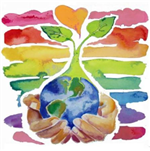 Earth Week Image including hands holding the earth with a flower growing out of the top
