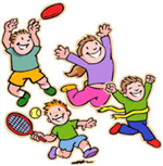 Clip Art of 4 kids playing football, tennis, jumping, and winning a race