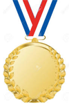 Gold Medal hanging from red white and blue ribbon