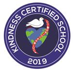 Kindness Certified School 2019 Logo with a white dove sitting on a heart earth