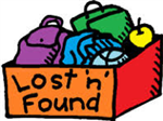 The words Lost 'n' Found on a box holding a purple backpack, green lunch box, green apple, and blue clothing
