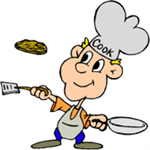 Clip art of a man in a chef's hat flipping a pancake with a spatula and pan