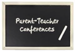 Black chalkboard with the word Parent-Teacher conferences