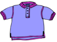 Purple collared short sleeve shirt with three buttons