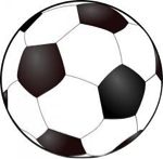 Clip art of a black and white soccer ball