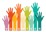 The word volunteer with 9 hands raised in varying colors