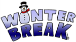The words Winter break written in blue block letters with a snow man as the letter I