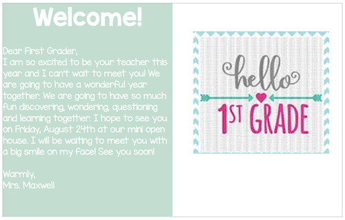 Welcome Postcard to New students