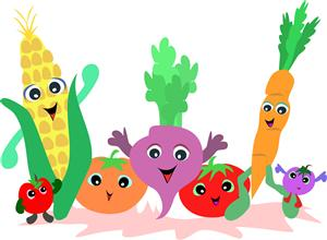 photo of strawberry, corn, persimion, turnip, tomato, carrot and grape dancing