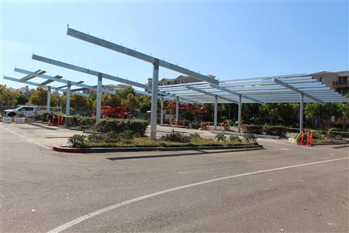 Solar Canopy under construction in parking lot at Solana Pacific