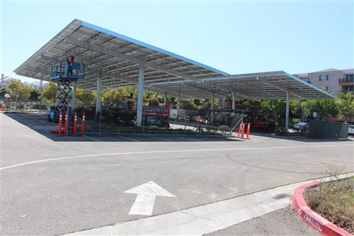 Solar panels under continued construction at Solana Pacific