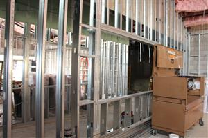 Interior walls framed with metal studs
