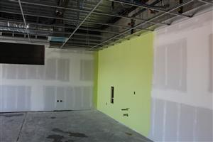 Interior drywall and paint in classroom