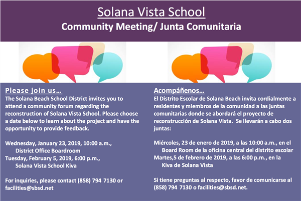 Solana Vista School Community Meeting