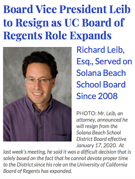 Board Bulletin header and photo of VP Leib