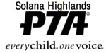 Solana Highlands PTA Logo with words Solana Highlands PTA Every child, one voice in black letters