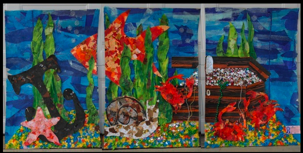 3 panel Art work of a treasue box, 4 orange fish , black anchor and various underwater sea life