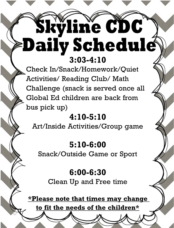 picture of skyline cdc daily schedule