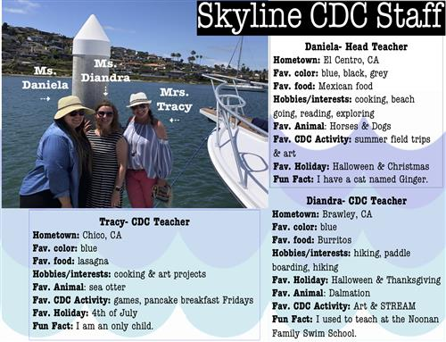 Skyline CDC Staff biograpy with picture of three women together on boat dock with bay and hills in background