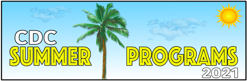 CDC Summer Programs 2021 with palm tree and sun