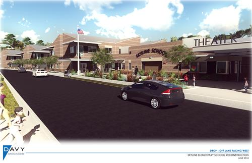 Rendering of the front of the new Skyline campus