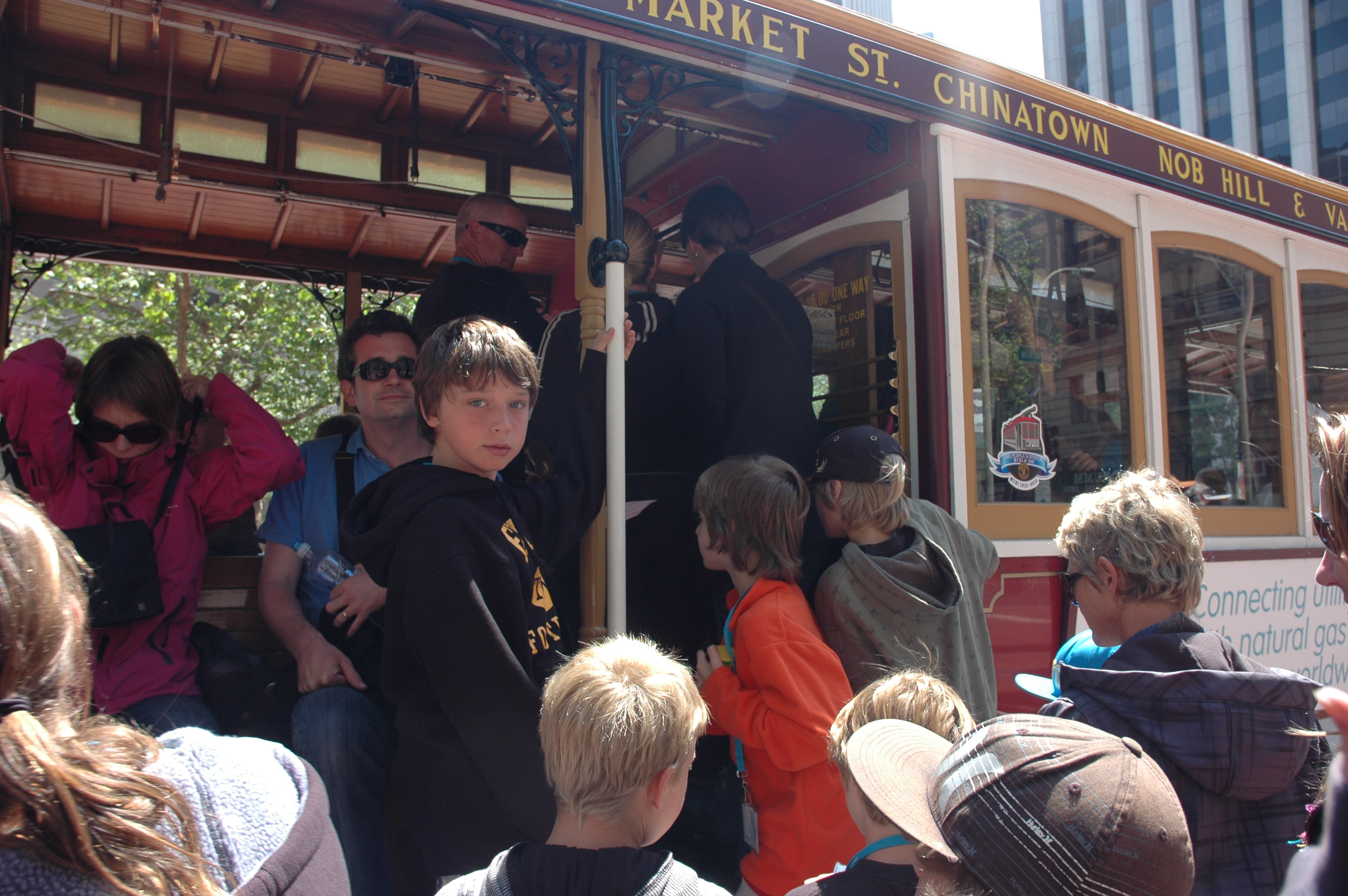 students riding a trolley on a field trip to San Francisco
