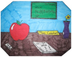 student hand drawn picture of Ms. Campbell's desk