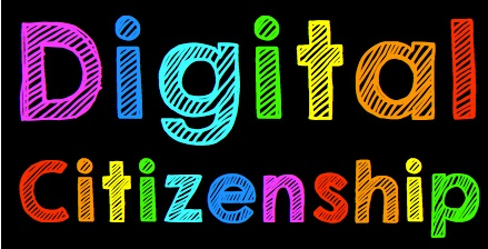 "Words ""Digital Citizenship"" typed in rainbow letters"