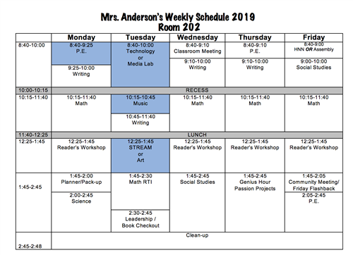 Mrs. Anderson's Weekly Schedule