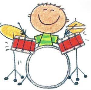 child playing drumset -clipart by Me And My Big Ideas