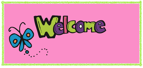"""Welcome"" with butterfly graphic"