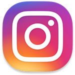 Instagram Logo: Purple, pink, red, orange, yellow background with a white outline of a camera (square, with inner circle, and small circle for flash)