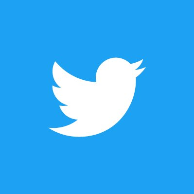 Twitter Logo: blue background with profile of a white bird flying and beak open