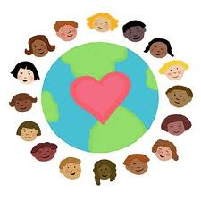 the world with a red heart on it and children surrounding it.