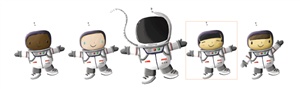 5 Cartoon Children in astronaut outfits