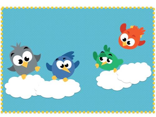 Cartoon gray, blue, green, and red birds flying
