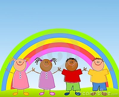 children under a rainbow