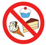 Clip art of different Sweets with the No symbol
