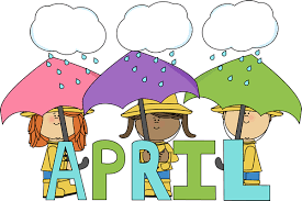 clouds raining on 3 children holding umbrellas behind blue and green letters spelling APRIL