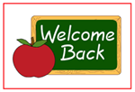 "Chalkboard next to red apple with the words ""Welcome Back"" written on it."