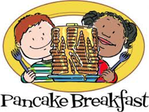 "Two children holding forks behind a stack of pancakes above the words ""Pancake Breakfast""."