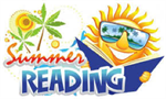 "Sun wearing sun glasses by another sun and palm trees reading a blue book by the words ""Summer Reading""."