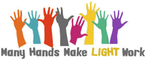 Variety of colored hands with words underneath that says: Many Hands Make Light Work.