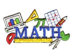Blue Letters that spell MATH with Math with a pi sign, bar graph, line graph, red and yellow pencil and ruler