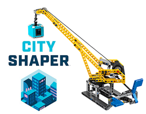 City Sharper EV3 Crane Built out of Black, Blue and Yellow Legos